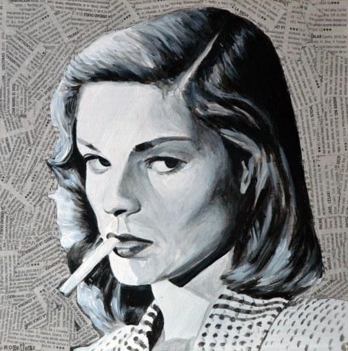 """Lauren Bacall es Vivian Rutledge en """"The big sleep""""/""""El sueño eterno"""". Howard Hawks, 1946.  25X25 cm. Acrílico y collage sobre tabla. DISPONIBLE"""