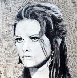 """Claudia Cardinale es Rosa Nicolosi en """"Il giorno della civetta""""/""""El día de la lechuza"""". Damiano Damiani. 1968 25x25 cm. Acrílico y collage sobre tabla. DISPONIBLE"""
