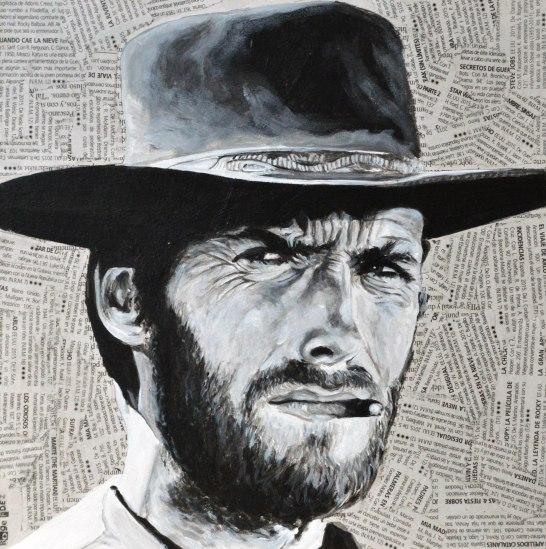 """Clint Eastwood es Joe en """"Per un pugno di dollari""""/ """"Por un puñado de dólares"""". Sergio Leone. 1964 25x25 cm. Acrílico y collage sobre tabla. VENDIDO"""