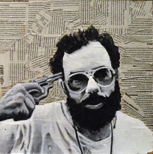 Francis Ford Coppola en el set de Apocalypse Now. 1979 25x25 cm. Acrílico y collage sobre tabla. VENDIDO