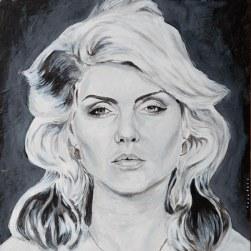 Debbie Harry 25x25 cm. Acrílico sobre tabla y collage. DISPONIBLE