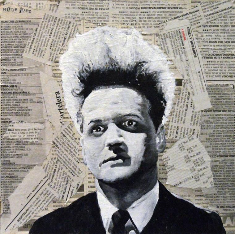 """Jack Nance es Henry Spencer en """"Eraserhead""""/""""Cabeza borradora"""" David Lynch. 1977 25x25 cm. Acrílico y collage sobre tabla. VENDIDO"""