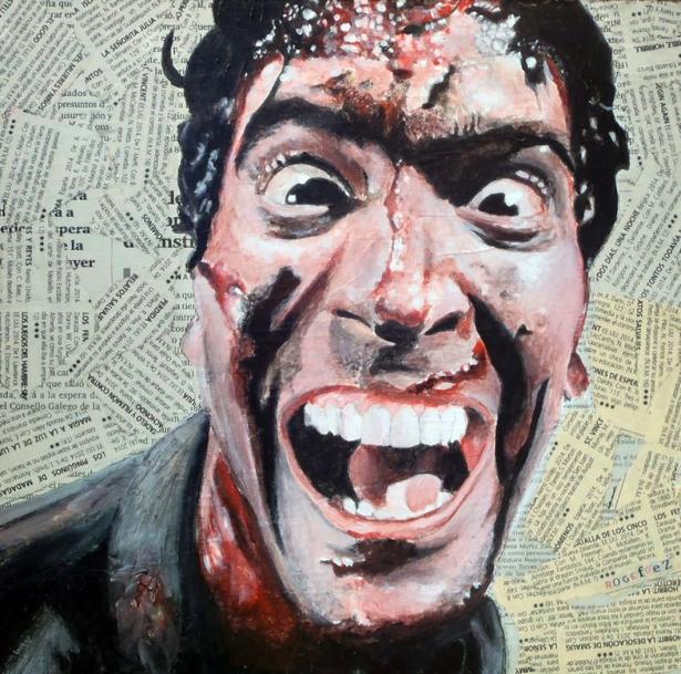 "Bruce Campbell es Ashley Ásh´J. Williams en ""Evil Dead""/""Posesión Infernal"". Sam Raimi.1981 25x25 cm. Acrílico y collage sobre tabla. VENDIDO"