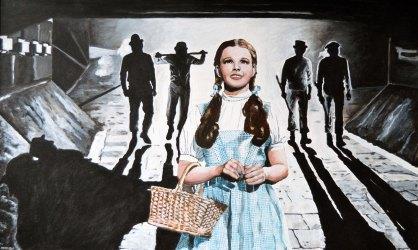 """""""LA NARANJA DE OZ"""" A clockwork orange/La naranja mecánica. Stanley Kubrick.1971 The wizard of Oz/ El mago de Oz. Victor Fleming.1939 80x45 cm.Acrílico sobre tabla.VENDIDO"""
