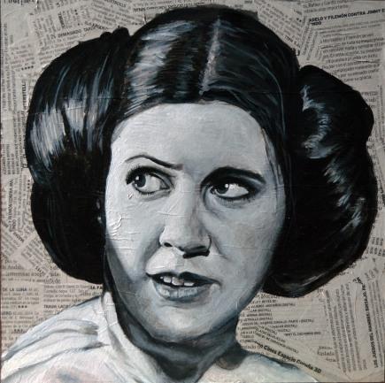 """Carrie Fisher es la Princesa Leia en la saga """"Star Wars"""" George Lucas. 1977-1983 25x25 cm. Acrílico y collage sobre tabla. VENDIDO"""