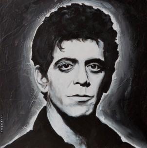 Lou Reed 25x25 cm. Acrílico sobre tabla y collage. DISPONIBLE