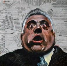 """Lenny Montana es Luca Brasi en """"The Godfather""""/ """"El padrino"""" Francis Ford Coppola.1972 . 25x25 cm. Acrílico y collage sobre tabla. VENDIDO"""