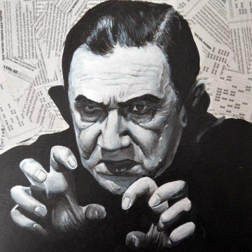 Béla Lugosi (20 de octubre ó 29 de octubre de 1882 - 16 de agosto de 1956).caracterizado como Drácula en una fotografía de estudio. 25x25 cm. Acrílico y collage sobre tabla. VENDIDO