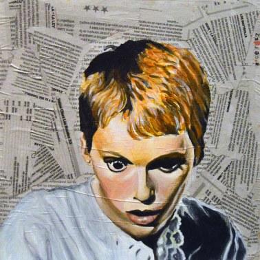 """Mia Farrow es Rosemary Woodhouse en """"Rosemary´s Baby""""/ """"La semilla del Diablo"""". Roman Polanski.1968 25x25 cm. Acrílico y collage sobre tabla. VENDIDO"""