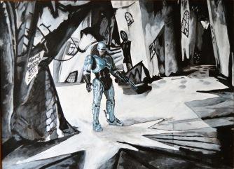 """""""EL GABINETE DEL DOCTOR ROBOCOP"""" Das Cabinet des Dr. Caligari/ El gabinete del Dr. Caligari Robert Wiene. 1920 RoboCop. Paul Verhoeven. 1987 60x44.Acrílico sobre tabla.VENDIDO"""