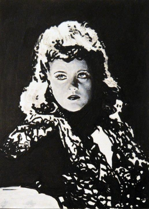 """Simone Simon en """"Cat people""""/""""La mujer pantera"""". Jacques Tourneur.1942 13x18 cm. Acrílico sobre papel. VENDIDO"""