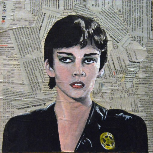 "Sarah Douglas es Ursa en ""Superman II"" Richard Lester & Richard Donner. 1980 25x25 cm. Acrílico y collage sobre tabla. VENDIDO"